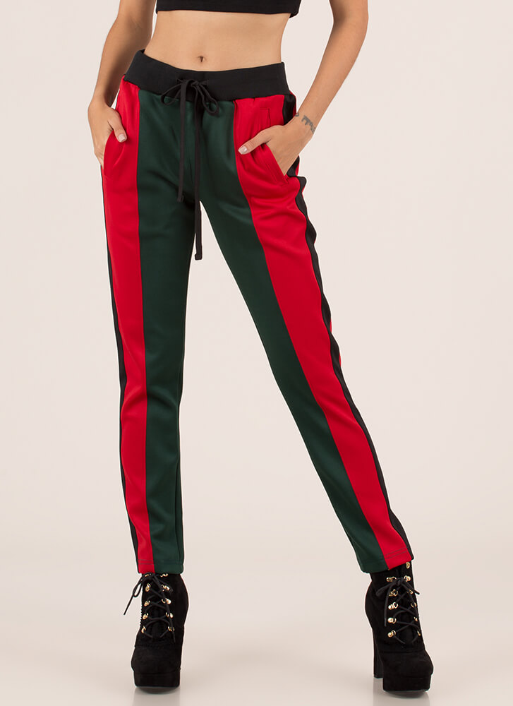 Track And Feels Colorblock Pants REDGREEN