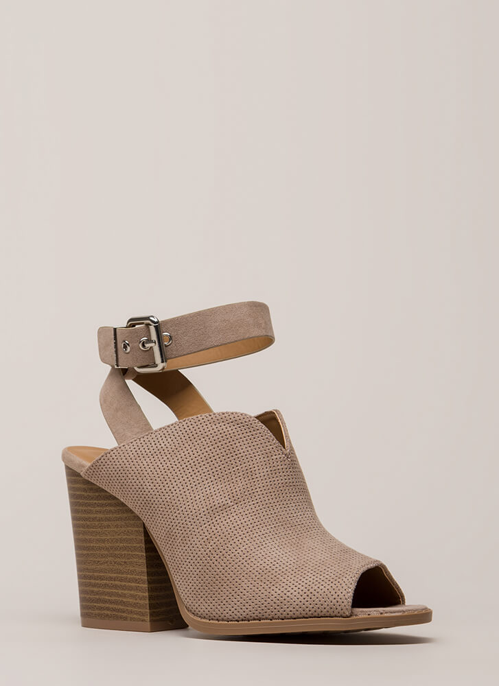 My Style Strappy Peep-Toe Block Heels TAUPE