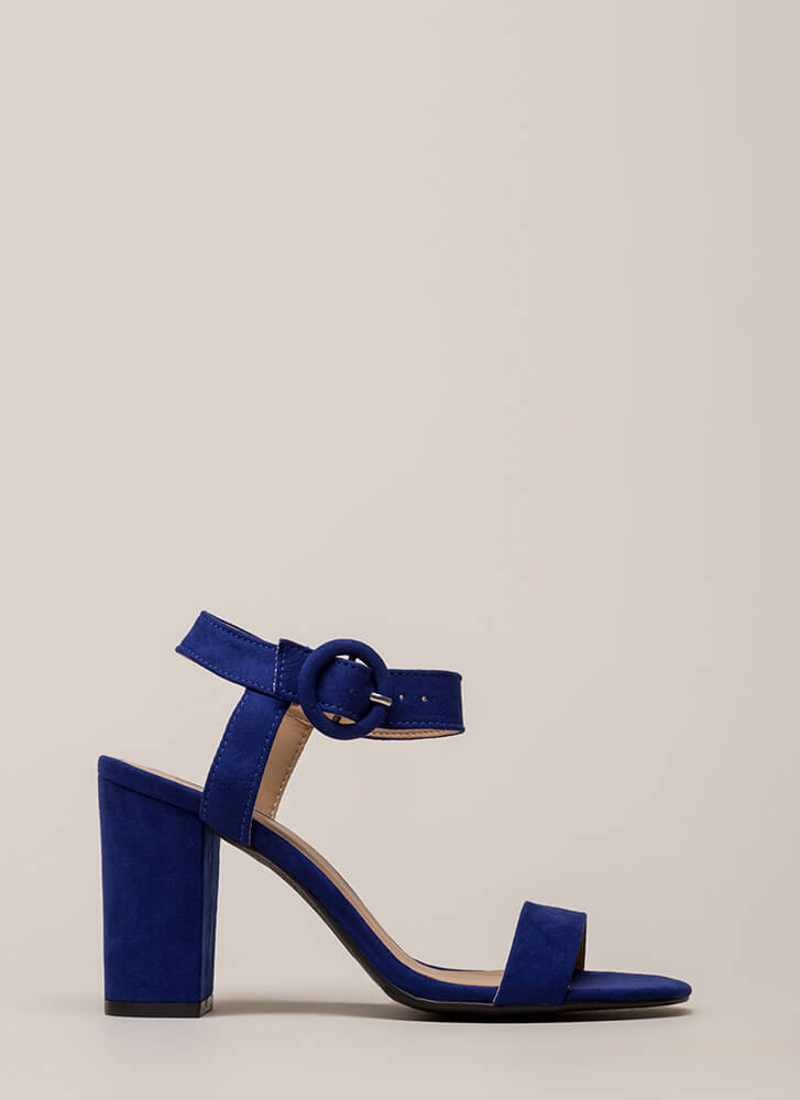 Retro Revival Chunky Faux Suede Heels MIDNIGHTBLUE