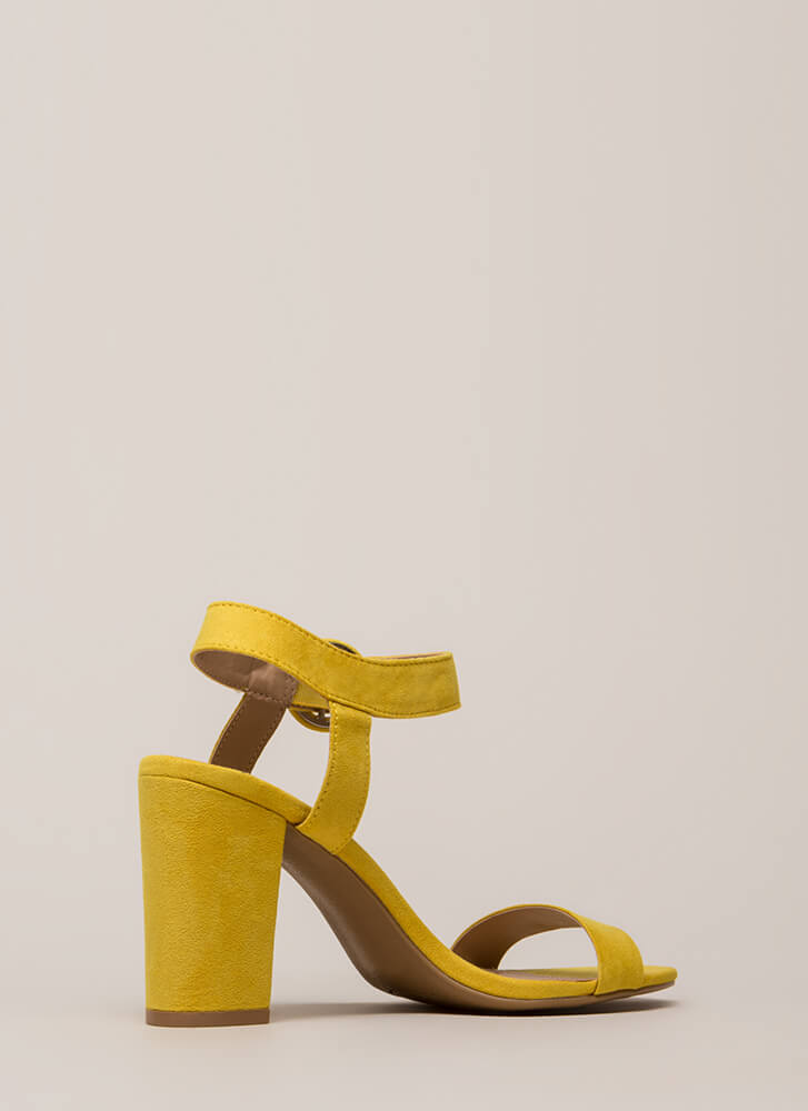 Retro Revival Chunky Faux Suede Heels YELLOW