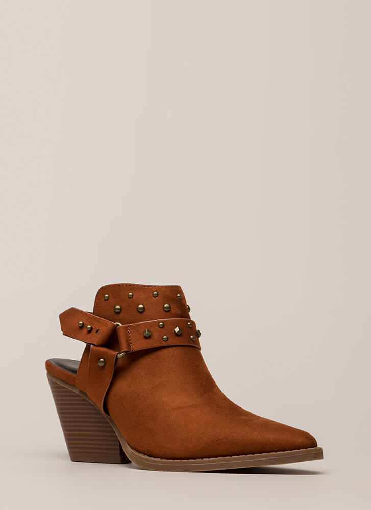 You Stud Backless Faux Suede Booties WHISKEY