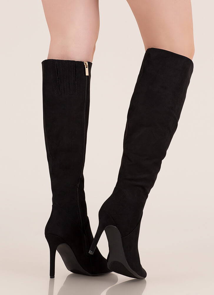 Chic In The City Pointy Knee-High Boots BLACK