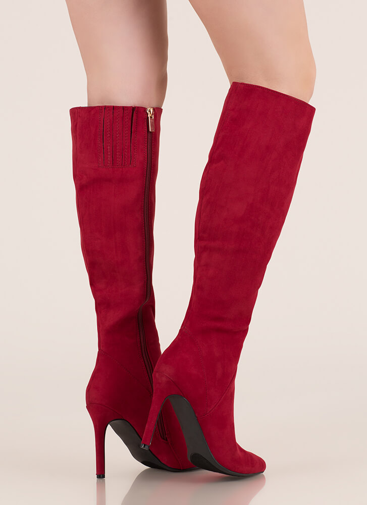 Chic In The City Pointy Knee-High Boots CRIMSON