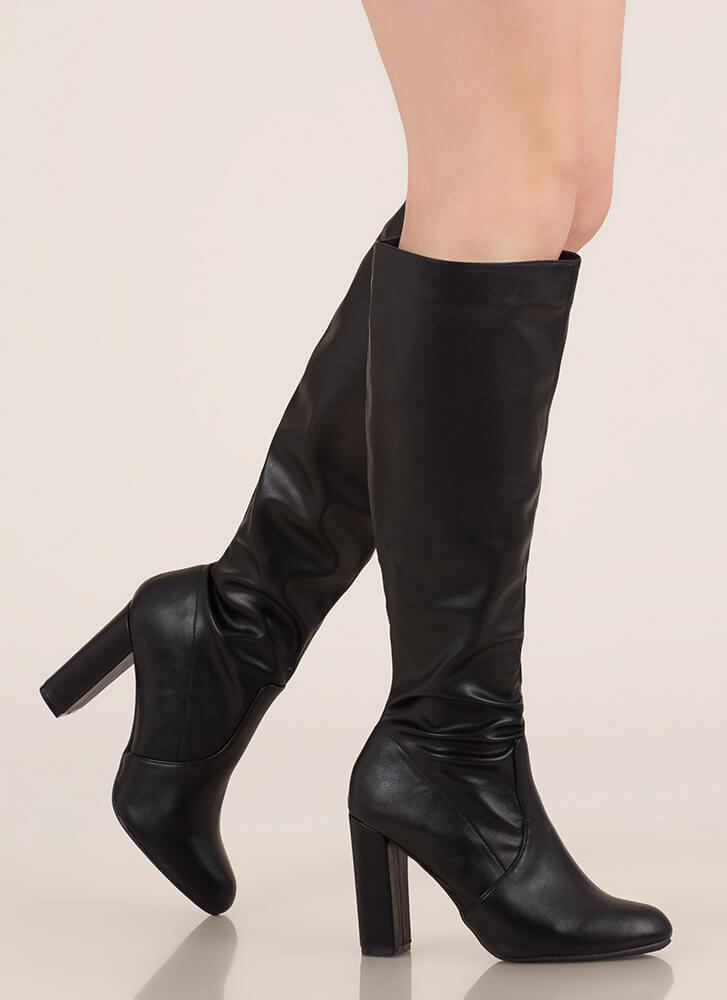 Fresh Legs Chunky Faux Leather Boots BLACK