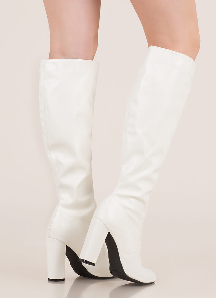 Fresh Legs Chunky Faux Leather Boots WHITE