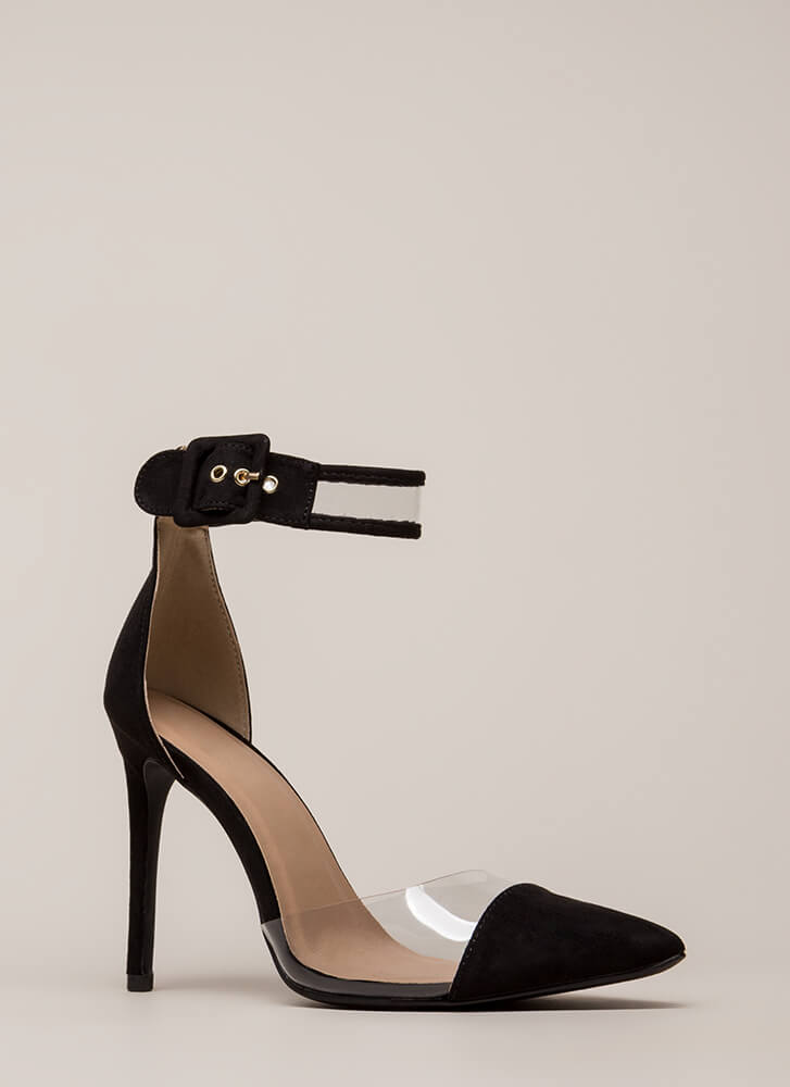 Show-Off Pointy Clear Inset Heels BLACK