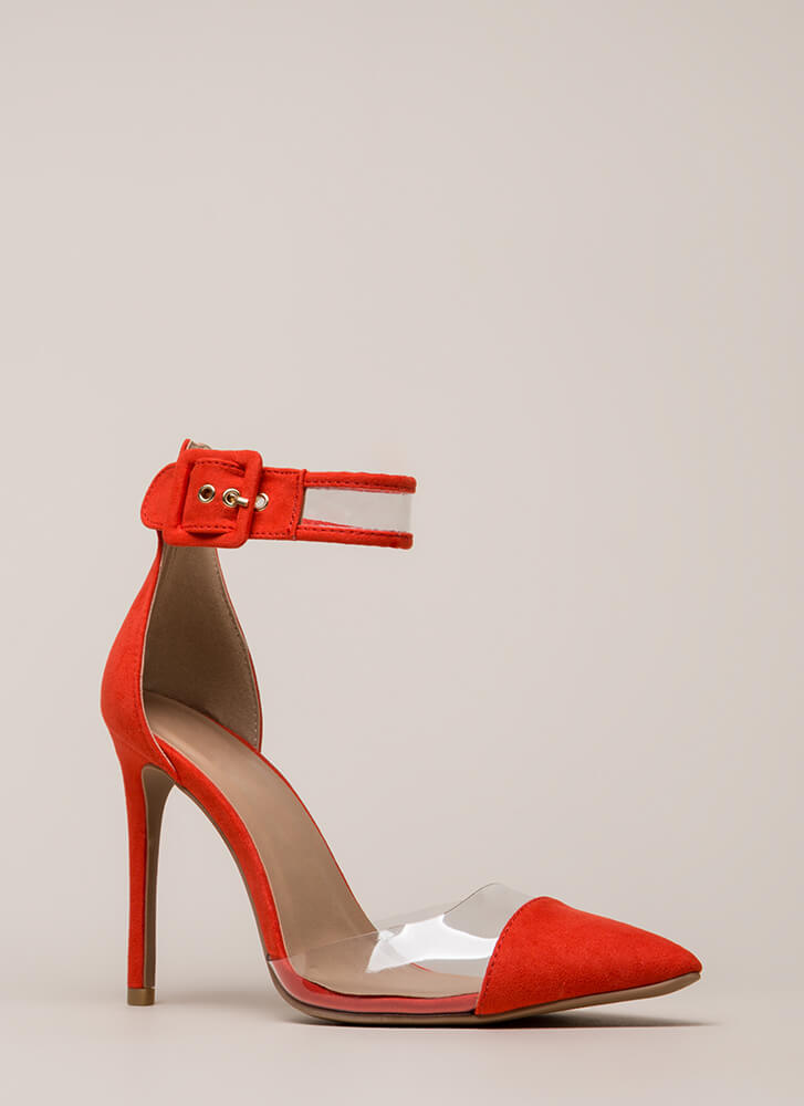 Show-Off Pointy Clear Inset Heels BLOODORANGE