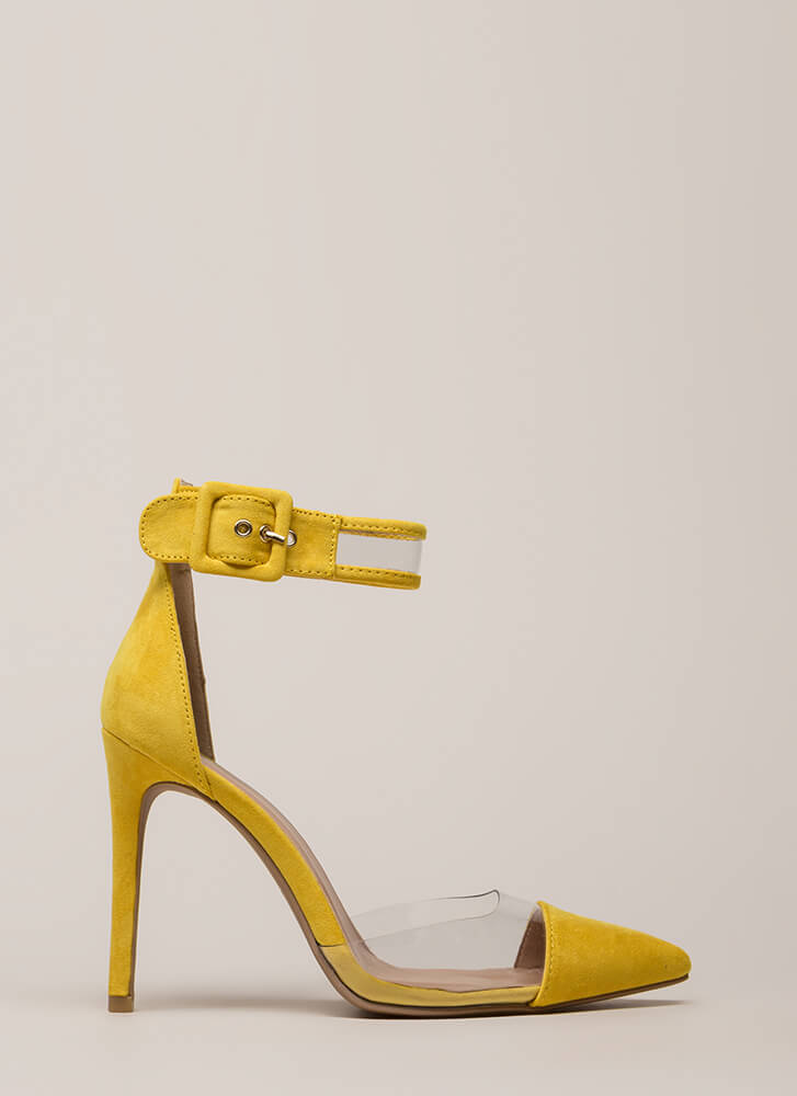 Show-Off Pointy Clear Inset Heels YELLOW