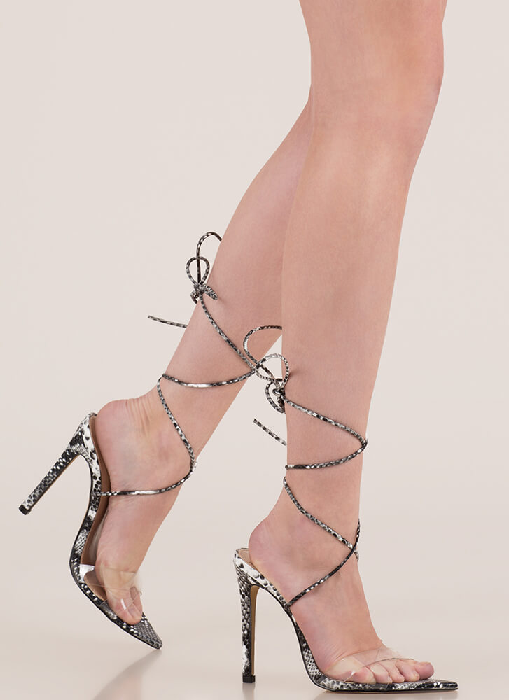 Snake Charmer Clear Lace-Up Heels BLACKWHITE