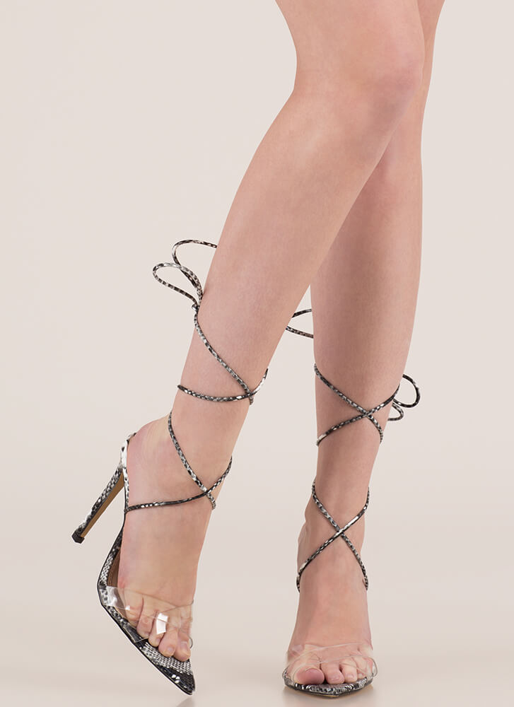 1ed80fff9c4 Snake Charmer Clear Lace-Up Heels