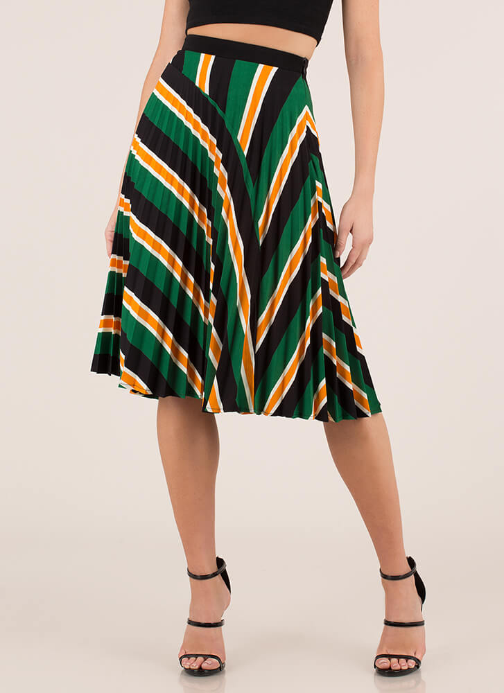 Pleats And Thank You Striped Skirt GREEN (Final Sale)