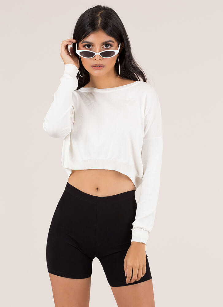 Perfect Weather Cropped Knit Sweater IVORY (You Saved $8)