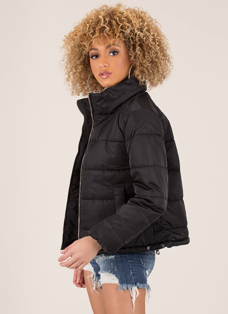 Keep Me Warm Puffy Quilted Jacket BLACK