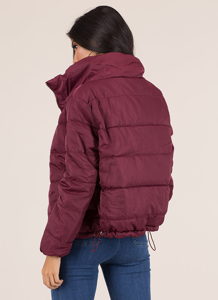 Keep Me Warm Puffy Quilted Jacket BURGUNDY