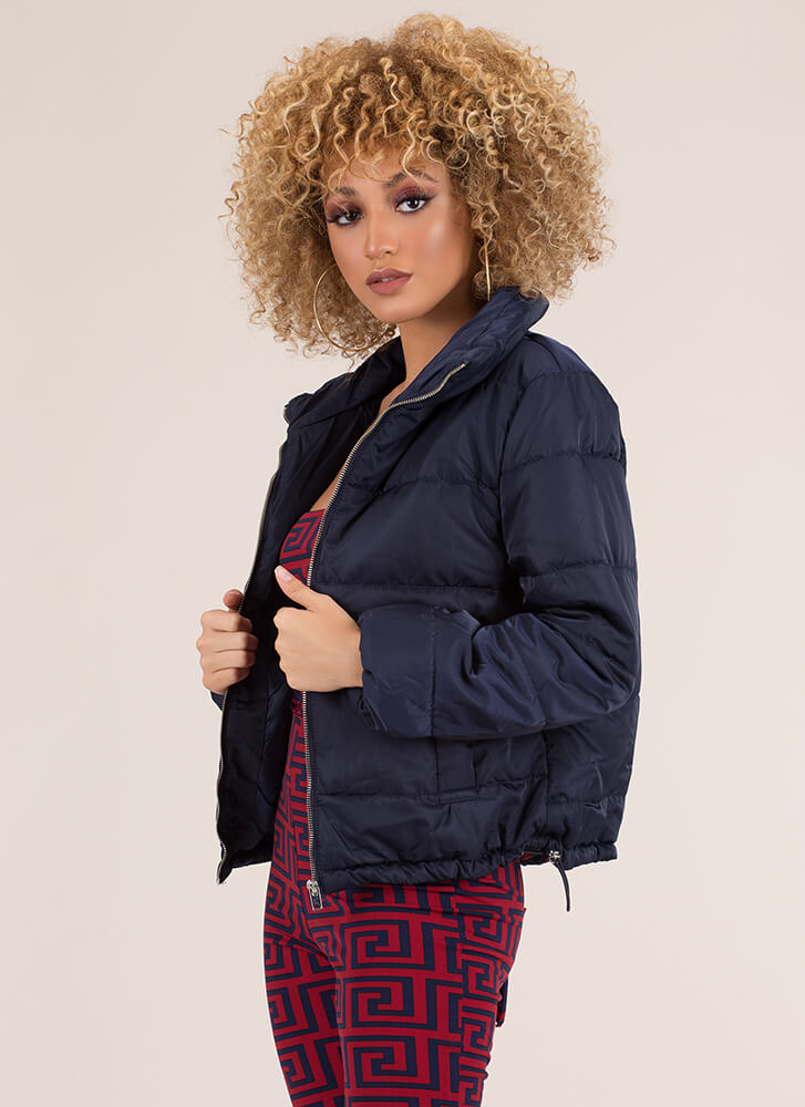 Keep Me Warm Puffy Quilted Jacket NAVY