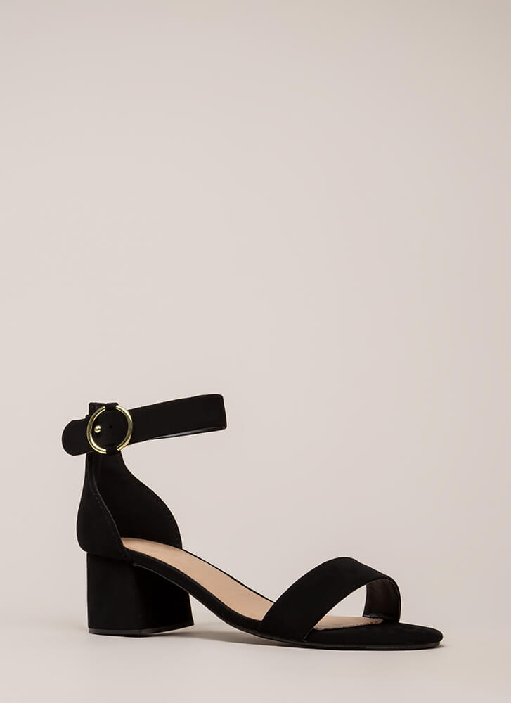 Push It Faux Nubuck Block Heels BLACK (You Saved $15)