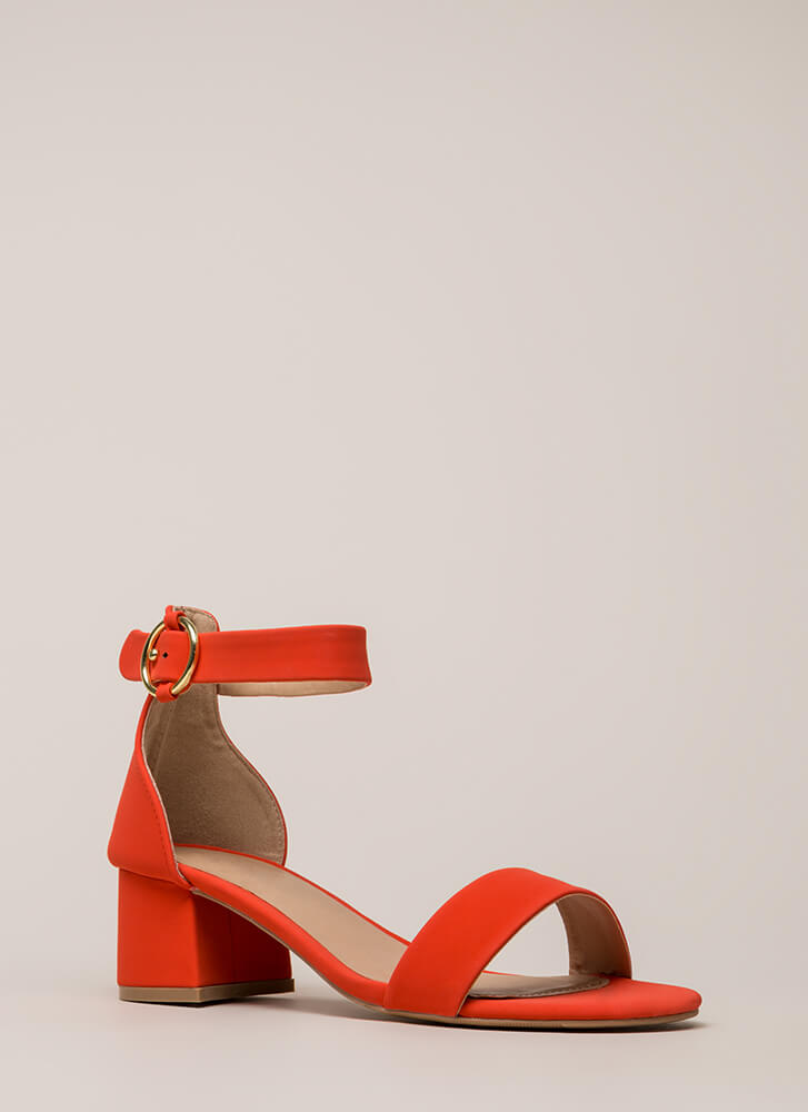 Push It Faux Nubuck Block Heels BLOODORANGE (You Saved $15)