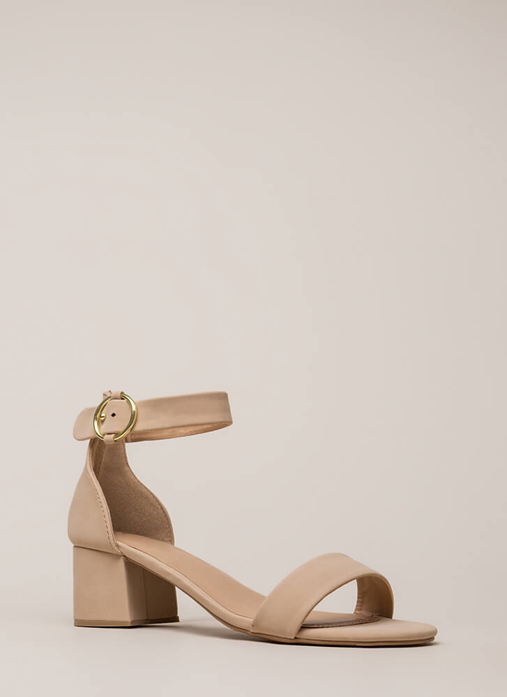 Push It Faux Nubuck Block Heels WARMTAUPE (You Saved $15)