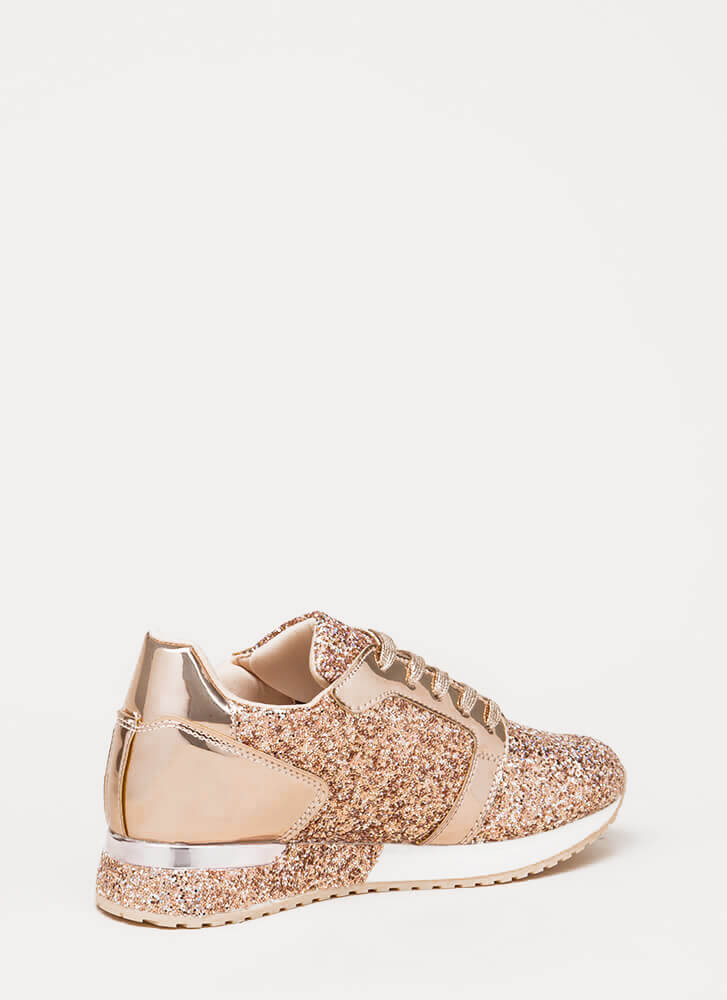 Flash Forward Glittery Sneakers ROSEGOLD