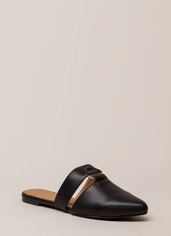 Ring In The New Cut-Out Mule Flats BLACK