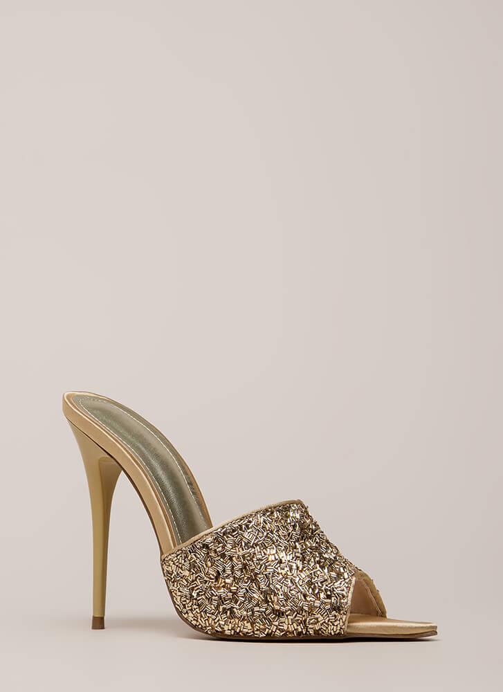 Sparks Sequined Peep-Toe Mule Heels GOLD (You Saved $23)