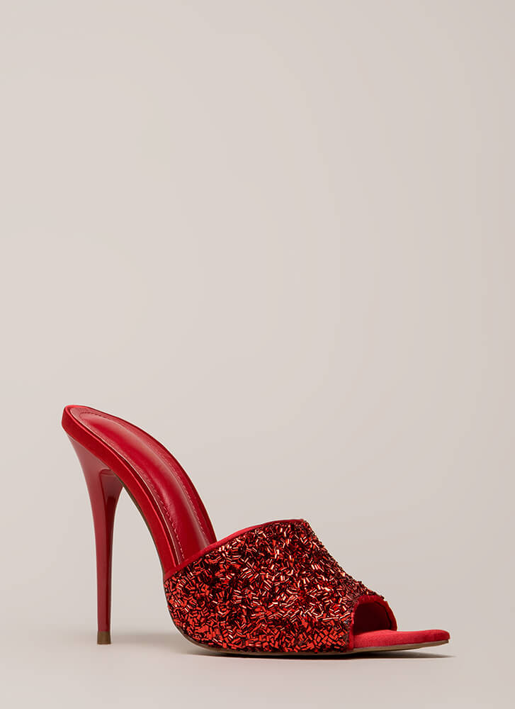 Sparks Sequined Peep-Toe Mule Heels RED (You Saved $23)