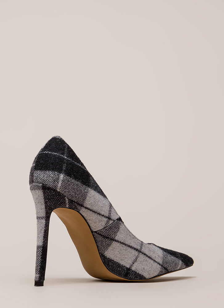 Plaid Influence Pointy Stiletto Pumps BLACK (You Saved $21)