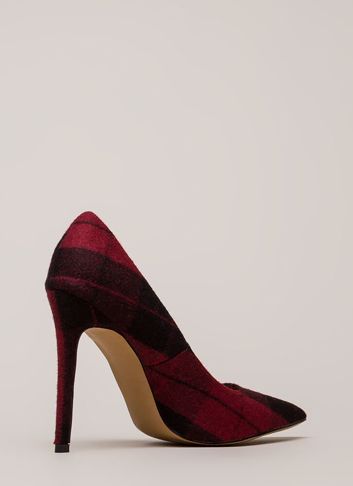 Plaid Influence Pointy Stiletto Pumps WINE (You Saved $21)