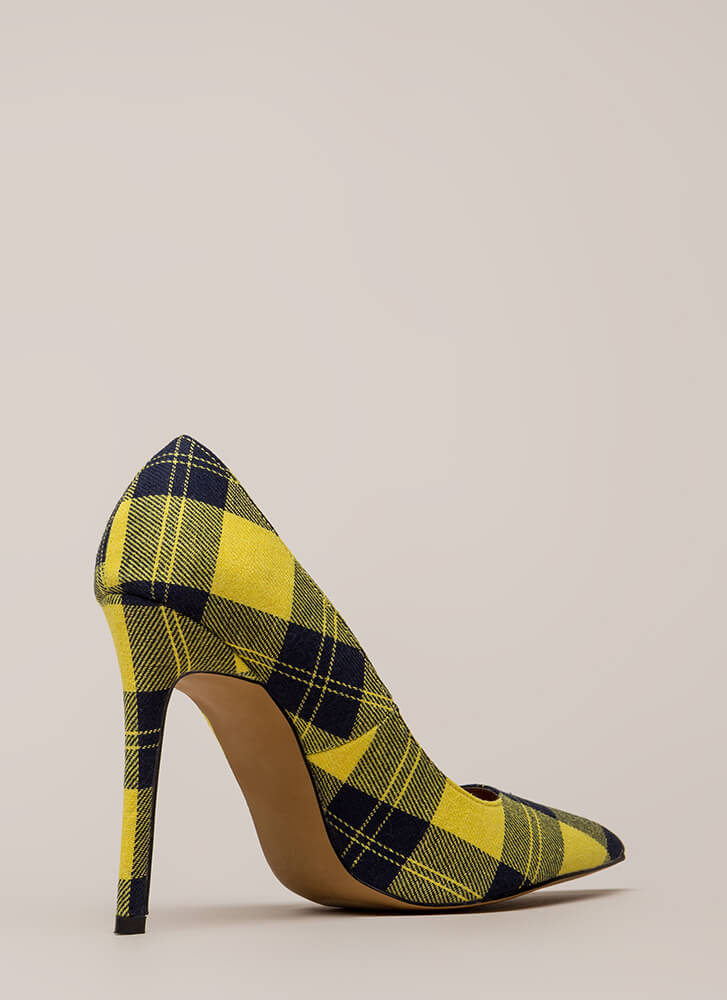 Plaid Influence Pointy Stiletto Pumps YELLOW (You Saved $21)