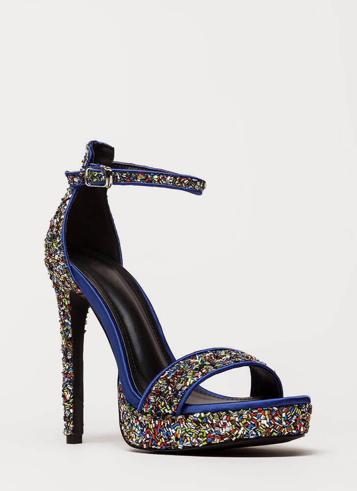 Sparks Sequined Ankle Strap Platforms MULTI