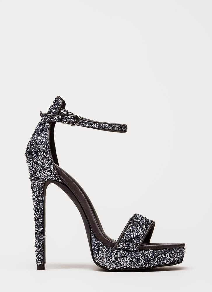 Sparks Sequined Ankle Strap Platforms PEWTER