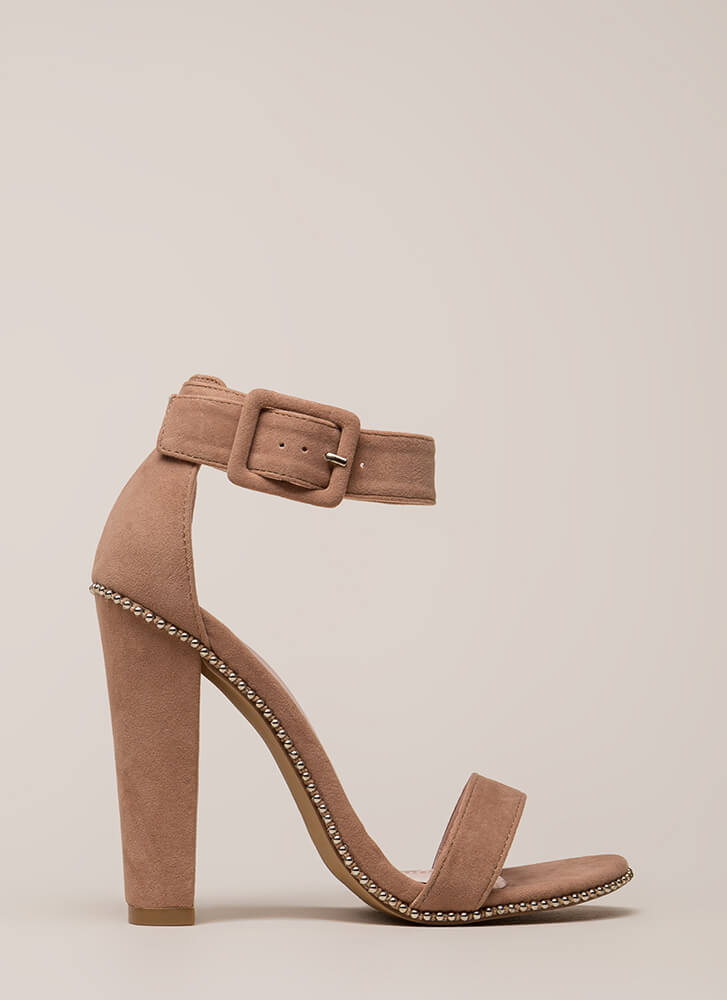 Cut And Trim Chunky Studded Heels TAUPE