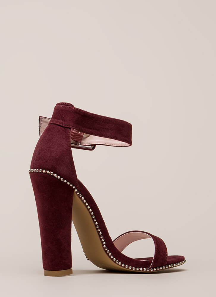 Cut And Trim Chunky Studded Heels WINE