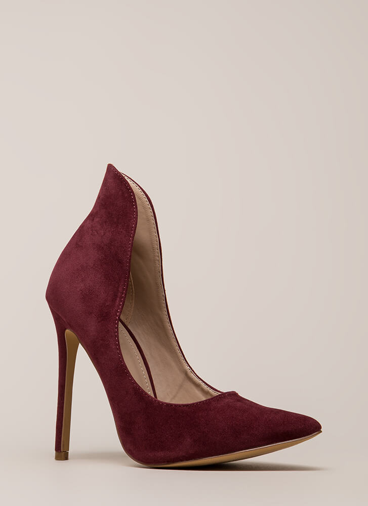 Different League Pointy Stiletto Pumps BURGUNDY