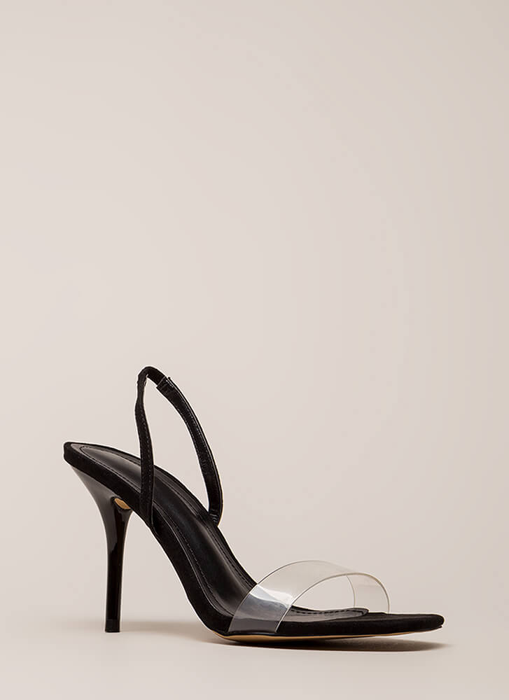 Clear And Present Slingback Heels BLACK