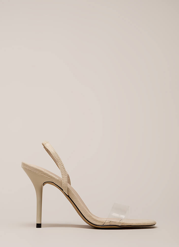 Clear And Present Slingback Heels NUDE