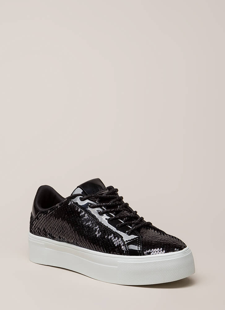 Shining In Sequins Platform Sneakers BLACK (You Saved $18)