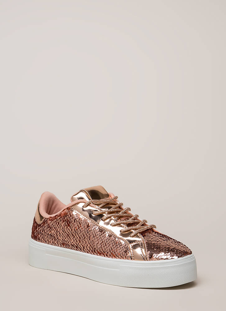 Shining In Sequins Platform Sneakers ROSEGOLD (You Saved $18)
