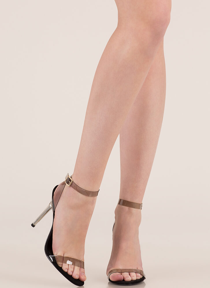 See Right Thru You Clear Strap Heels BLACK