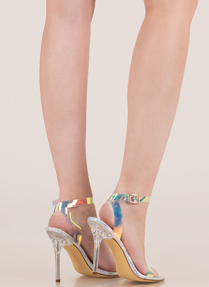 See Right Thru You Clear Strap Heels HOLOGRAM