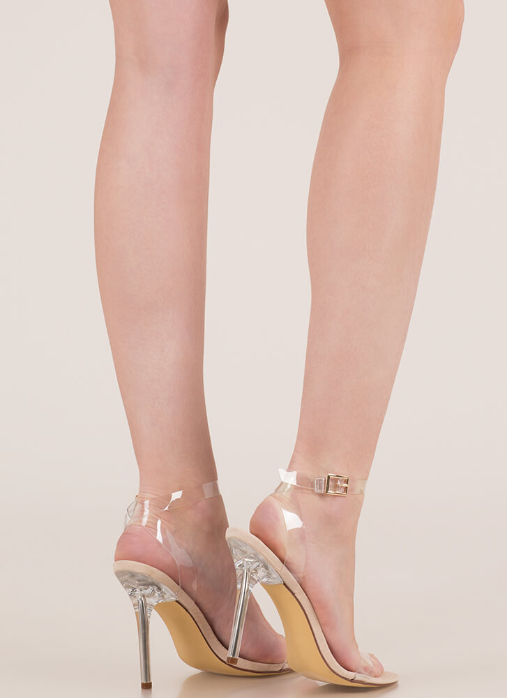 See Right Thru You Clear Strap Heels NUDE