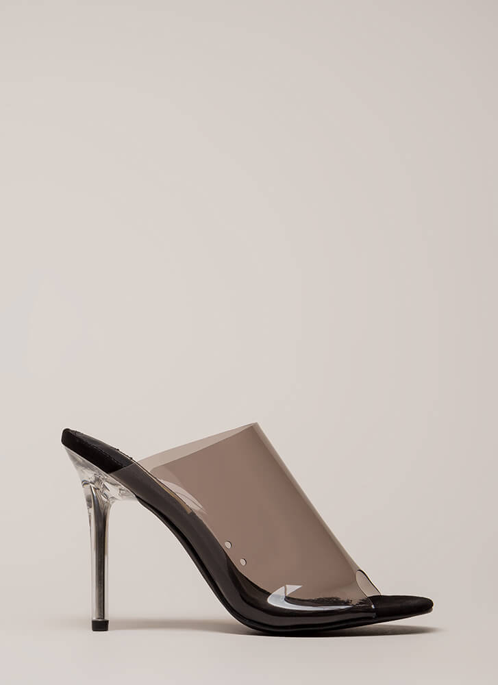 Clearly Must-Have Peep-Toe Mule Heels BLACK
