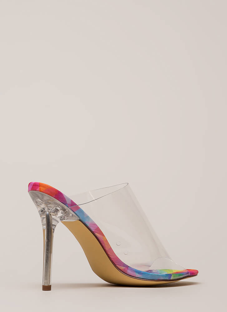 Clearly Must-Have Peep-Toe Mule Heels MULTI