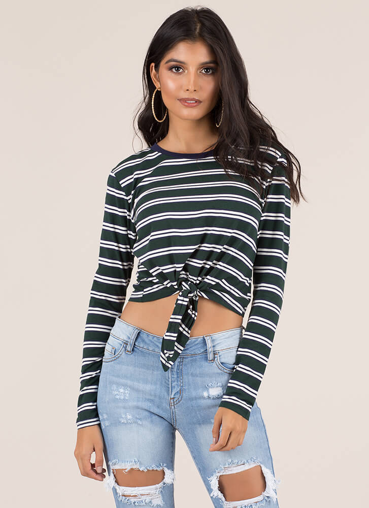 Just Relax Knotted Striped Crop Top GREENWHITE