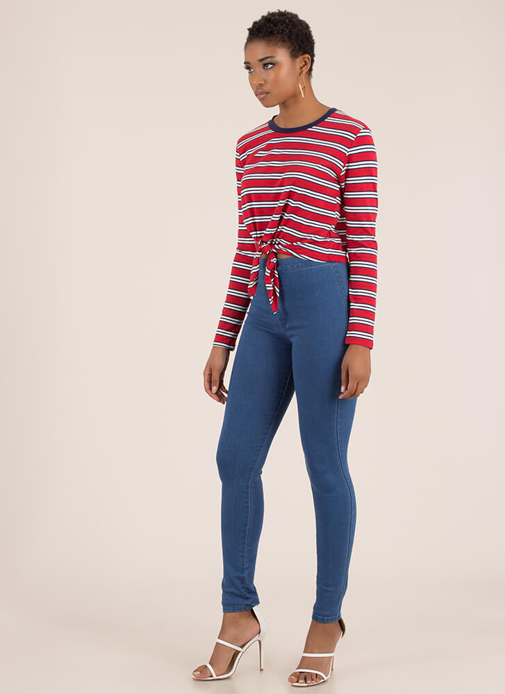 Just Relax Knotted Striped Crop Top REDWHITE