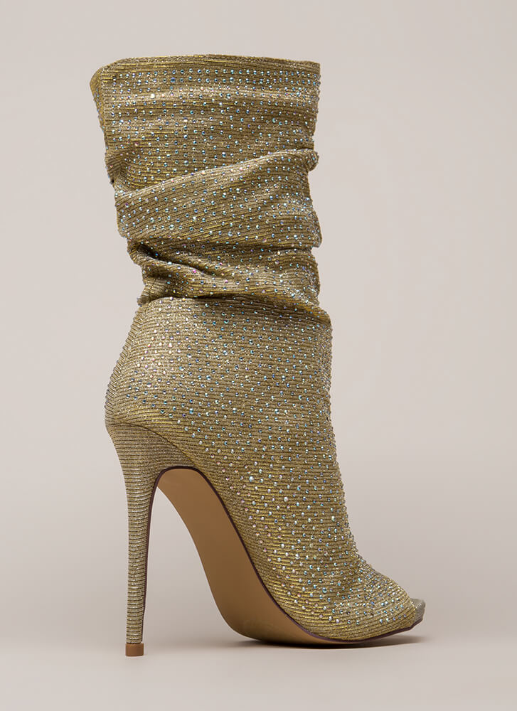 Jeweled Tone Slouchy Peep-Toe Booties GOLD