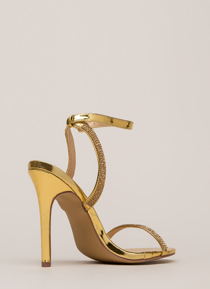 Something Sparkly Jeweled Strap Heels GOLD
