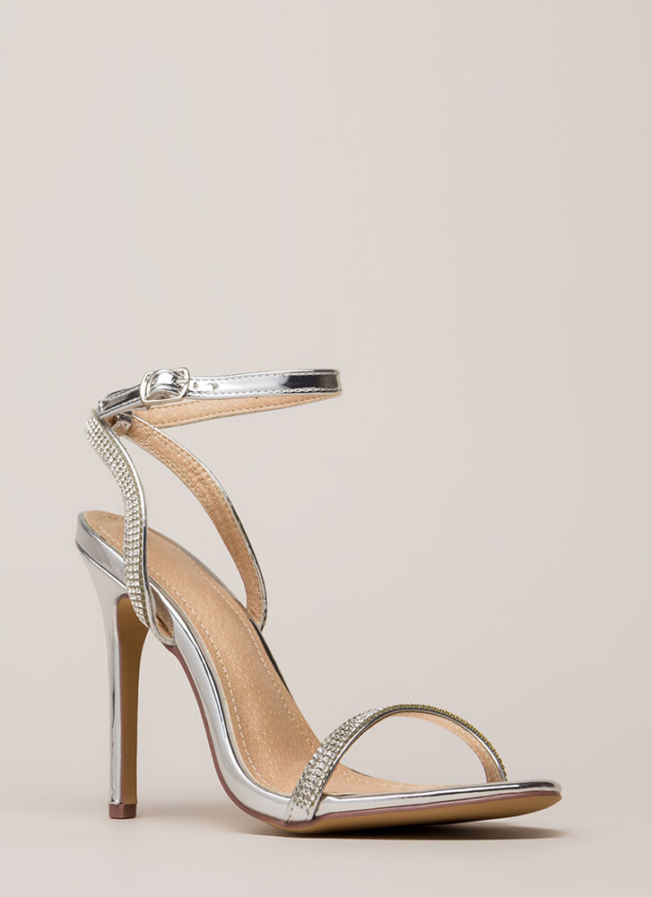 Something Sparkly Jeweled Strap Heels SILVER