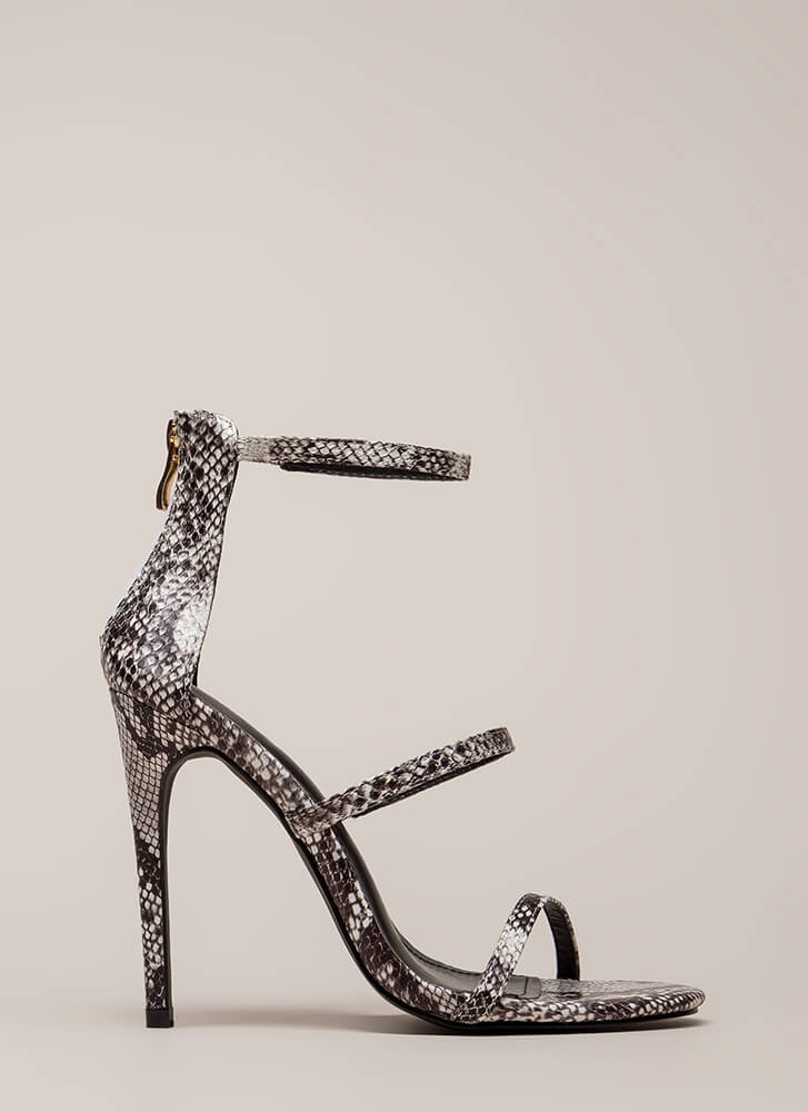 Golden Age Strappy Faux Snake Heels SNAKE