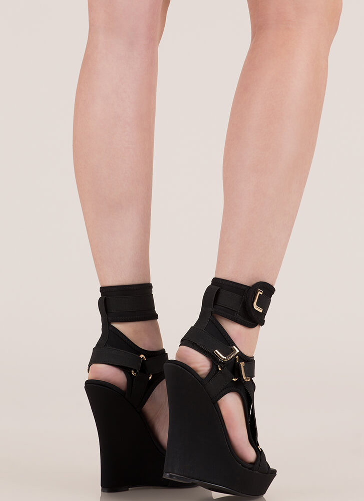 Band Mate Caged Platform Wedges BLACK
